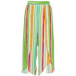 Womens Striped Pull On Tulip Pants