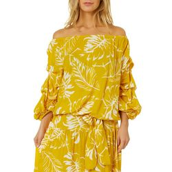 Ivy Road Womens Palm Leaf Print Lantern Sleeve Top