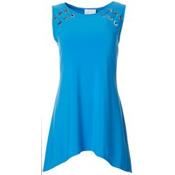 Ivy Road Womens Solid Grommet Detail Sleeveless Top