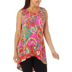 Ivy Road Womens Paisley Print Grommet Detail Sleeveless Top