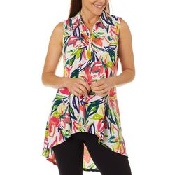 Ivy Road Womens Floral Lily Zip Neck Sleeveless Top