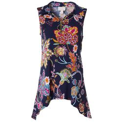 Ivy Road Womens Floral Puff Print Sleeveless Top