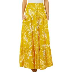 Ivy Road Womens Palm Leaf Print Maxi Skirt