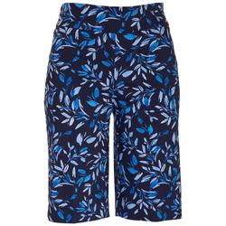 Womens Pull-On Floral Skimmer Shorts