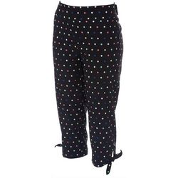 Womens Dot Print Tie Hem Pull-On Capris