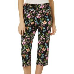 Counterparts Womens Floral Bouquet Pull On Career Capris