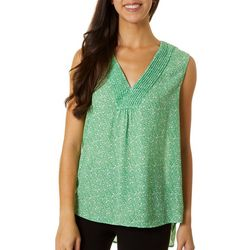 DR2 Womens Floral Print V-Neck Woven Sleeveless Top