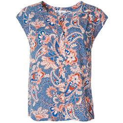 Womens Paisley Print Split Neck Short Sleeve Top
