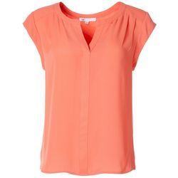 DR2 Womens Solid Split Neck Short Sleeve Top