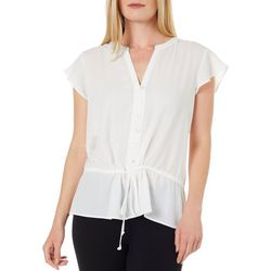 Womens Solid Faux Button Down Cap Sleeve Top