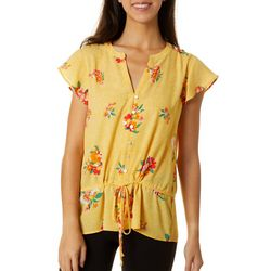 DR2 Womens Floral Print Faux Button Down Cap Sleeve Top