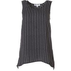 DR2 Womens Striped High-Low Sleeveless Top