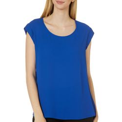 DR2 Womens Solid Woven Cap Sleeve Top