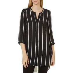 DR2 Womens Striped Button Down Tunic Top