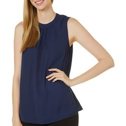 Womens Solid High Neck Pleated Sleeveless Top