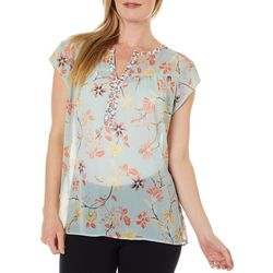 DR2 Womens Contrast Floral Print Split Neck Top