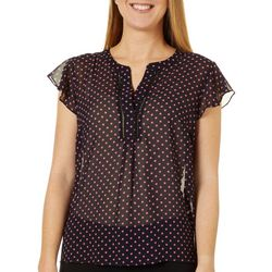 Womens Dotted Tiered Sleeve Top