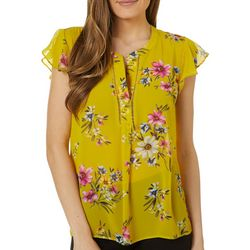 Womens Floral Tiered Sleeve Top