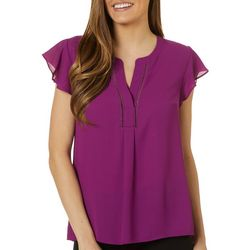 Womens Solid Tiered Sleeve Top