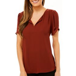 Womens Solid Split Neck Tiered Sleeve Top