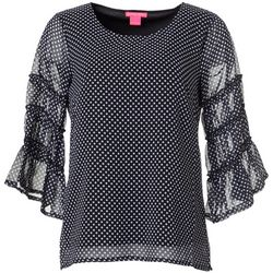 Sunny Leigh Womens Polka Dot Bell Sleeve Top