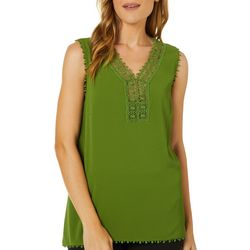 Sunny Leigh Womens Solid Crochet V-Neck Sleeveless Top