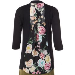 Cyrus Womens Open Front Floral Panel Cardigan