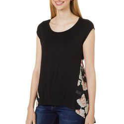 Cyrus Womens Floral Puff Print Layered Cap Sleeve Top