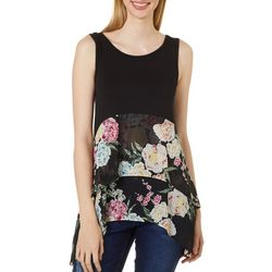 Cyrus Womens Floral Puff Print Layered Sleeveless Top