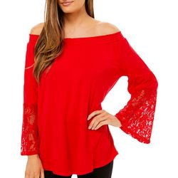 Cyrus Womens Solid Lace Trim Bell Sleeve Top
