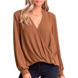 Lush Clothing Womens Long Sleeve Solid Twist Top