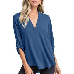 Womens 3-Quarter Sleeve V-Neck Top
