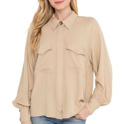 Lush Clothing Womens Long Sleeve Double Pocket Top