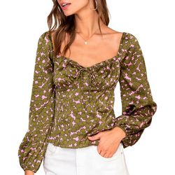 Lush Clothing Womens Long Sleeve Floral Velvet Top