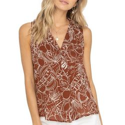 Lush Clothing Womens Printed Sleeveless Pleated V-Neck Top