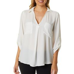 Lush Clothing Womens Solid Roll Tab Sleeve Top