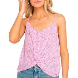 Lush Clothing Womens Dotted Sleeveless Twist Front Top