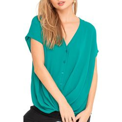 Lush Clothing Womens Solid Short Sleeve Twist Top