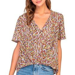 Lush Clothing Womens Printed Short Sleeve Twist Top