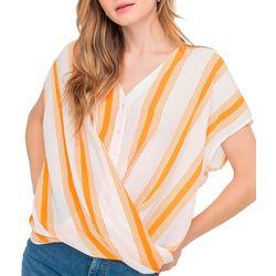 Lush Clothing Womens Stripe Short Sleeve Twist Top