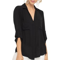Lush Clothing Womens Solid Roll Tab Collared Sleeve Top