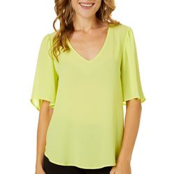 Lush Clothing Womens Solid Short Sleeve Flutter Sleeve Top