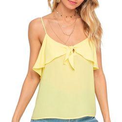 Lush Clothing Womens Solid Sleeveless Ruffle Neckline Top