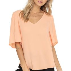 Womens Solid Short Sleeve Flutter Sleeve Top