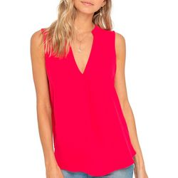 Lush Clothing Womens Solid Sleeveless Pleated Top