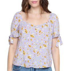 All In Favor Womens Floral Print Tie Detail Short Sleeve Top