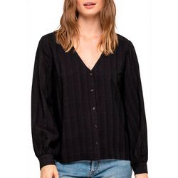 All In Favor Womens Solid Ribbed Button Down Top