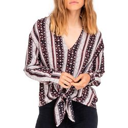 All In Favor Womens Mixed Stripe Tie Front Top