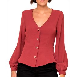 All In Favor Womens Solid Button Down Top