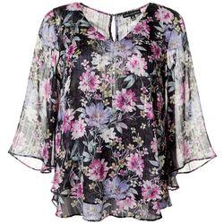 Sara Michelle Womens Floral Print Flutter Sleeve Top